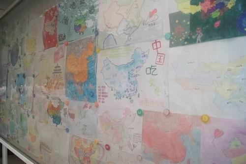"""保护地球""""学生手绘地图大赛.   色彩斑斓   """"爱我中华 保"""